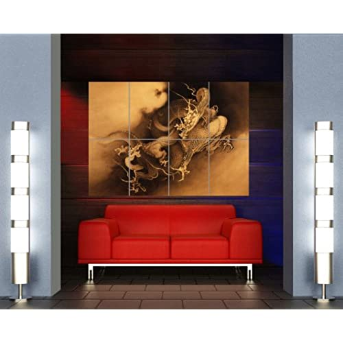 CHINESE DRAGON ORIENTAL ART GIANT WALL ART PRINT PICTURE POSTER MR302