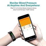 HETP Fitness Armband mit Pulsmesser Fitness Tracker Uhr Wasserdicht IP67 Blutdruckmesser Schrittzähler Uhr Stoppuhr Sport Aktivitätstracker Anruf SMS für Kinder Damen Männer - 3