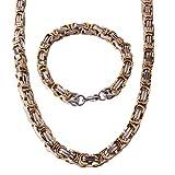 Hombres de acero inoxidable plata oro mecánico Chunky cadena bizantina pulsera y collar joyería Set