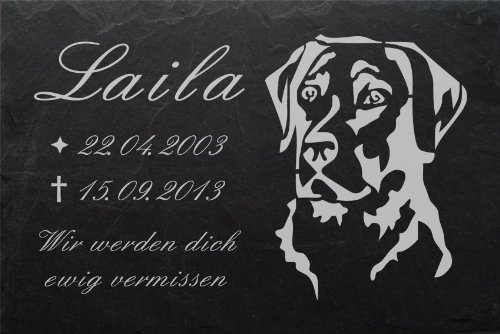 """Schiefertafel mit wetterfester Lasergravur des Motives """"Hund-012"""" und Ihrem Text/Daten in der gewünschten Schriftart z.B. als Grabstein auf das Grab oder als Gedenkstein für Zuhause von LaserArt24"""