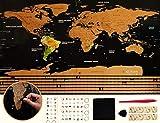 EAM® poster mappa mondo - mappa da grattare - 83x60 cm - con accessori - black gold - con bandiere