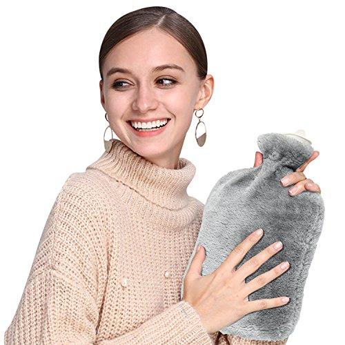 Wärmflasche,Samione Wärmeflaschen Hot Water Bottle Wärmflasche mit Bezug Microfaserbezug, Sicher und langlebig Geprüft Und Frei Von Schadstoffen,2 Liter (Grau)