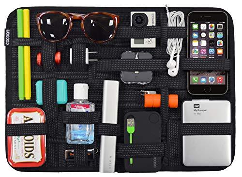 Grid-it Organizer (Cocoon GRID-IT XL - Koffer Organizer mit elastischen Bändern / Reisezubehör / Praktischer Organizer für Handgepäck, Hartschalen Koffer / Wand Organisationssystem mit Schlaufe / Schwarz - 38,1x1x27,9cm)