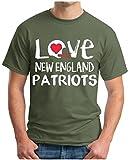 OM3® - Love New England - T-Shirt | Herren | American Football Shirt | XL, Oliv