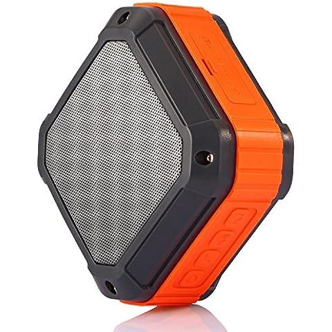 Altavoz Bluetooth Portátil, Yokkao® Mini Altavoz Inalámbrico con Micrófono Incorporado y Manos Libres A Prueba de Agua y Polvo para Smartphones iPhone/ Samsung/ Huawei/ Xiaomi/ iPod/ iPad/ Tablets y MP3 (Naranja)