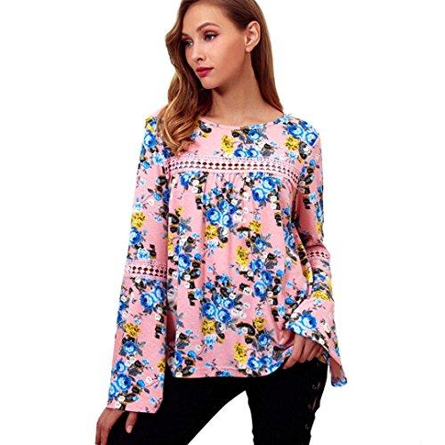 Womens Fitted Unterhemd (Abstand! Damen Tops Daoroka Damen Chiffon Lange ausgestellte Ärmel Blumenmuster Casual Lose Bluse Tunika Mode Herbst Pullover Comfort Cute T-Shirt S Rose)