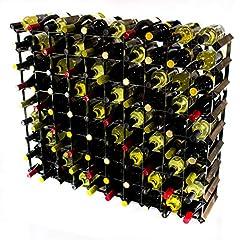 Idea Regalo - Cranville wine racks Classica cantinetta per 90 Bottiglie di Vino, Realizzata in Robusto Legno di Pino Scuro e Acciaio galvanizzato, già montata.