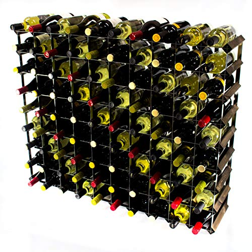 Klassische 90 Flasche Eiche dunkel gebeiztem Holz und verzinktem Metall Weinregal Selbstmontage