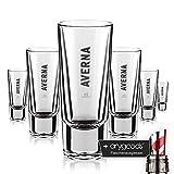 6 x Averna Glas Gläser Schnapsglas Likörglas Gastro Bar Deko + anygoods Flaschenausgiesser