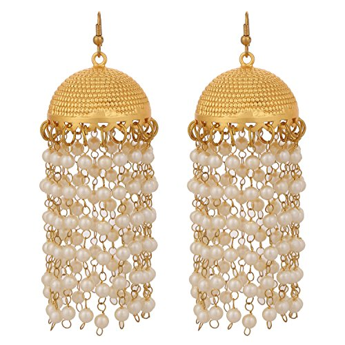 Gold Jhumkas with pearl lines