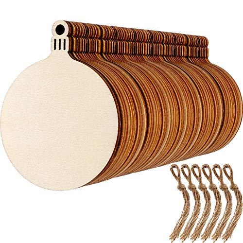60 pezzi rotondo dischi di legno natale in legno bianco dischi di legno per ornamenti del pendente dell'albero di natale