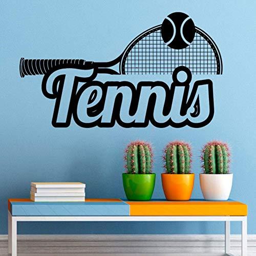 ljjljj Sport Wandtattoos Tennis Logo Vinyl Wandaufkleber Tennis Club Dekoration Home Interior Wandkunst Tennis Liebhaber Wandbild 100x57 cm