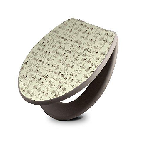 Preisvergleich Produktbild banjado - taupe Design Toilettendeckel WC Sitz Brille 36m x 5cm x 45cm mit Motiv Fahrräder