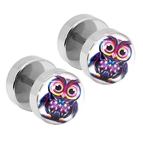 tumundo 2 Ohr-Stecker Fake-Plugs Flesh Tunnel Piercing Ohrring Stern Weihnachten Eule Teufel Blumen 10mm Motiv Edelstahl, Modell:Modell (Fake Perlenketten)