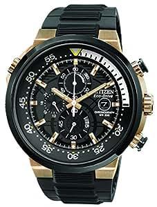 Citizen Endeavor Men's Quartz Watch with Black Dial Chronograph Display and Black Rubber Strap CA0448-08E