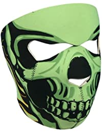 "Cagoule Masque Protection Neoprene ""Green Skull"" - Taille unique réglable - Airsoft - Paintball - Outdoor - Ski - Snow - Surf - Moto - Biker - Quad"
