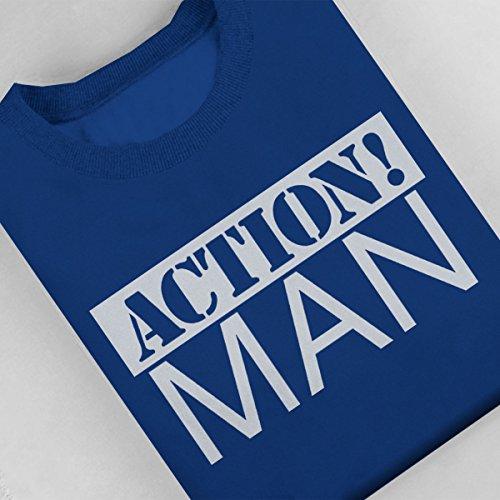 Action Man White Women's Sweatshirt Royal Blue