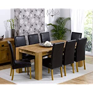 Venice solid oak furniture extending m dining table 8 Rustique chairs set