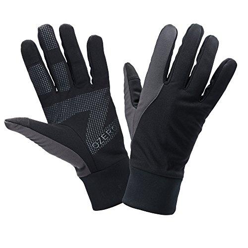 OZERO Damen Herren TouchScreen Handschuhe Thermischer Fingerhandschuhe für Smartphone Texting mit Rutschfester Silikon Gel - Handwärmer Winddicht und Wasserdicht zum Laufen, Radfahren im Herbst Winter (Fingerlose Motorrad Handschuhe Schwarze)