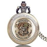 Harry Potter - Reloj de Bolsillo para Hombre, Estilo Retro, clásico, Cuarzo, con Cadena, Hombres