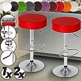 Sgabelli da Bar - In Similpelle, con Poggiapiedi, Regolabile in Altezza, Sedile Girevole 360°, Colore e Set a Scelta - Sedia, Mobili da bar, Mobili da pranzo (Rosso, Set da 2)
