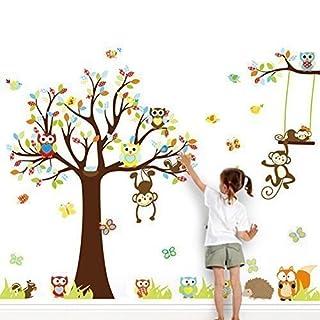 Grandora XXL Wandtattoo Kinderzimmer Baum Mit Affen Auf Einer Schaukel U0026  Eulen Für Jungen Und Mädchen