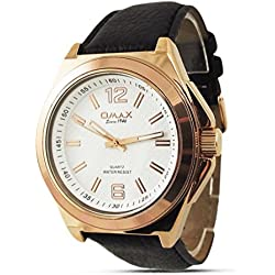 Synthetic Leather Black Strap / Rose Gold Dial Womens Watch / Watches for Ladies
