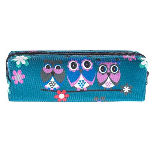Kukubird Tribal Elefante Primavera/estate Floreale Print Zip Scuola Uni Matita Caso Three Owls Blue
