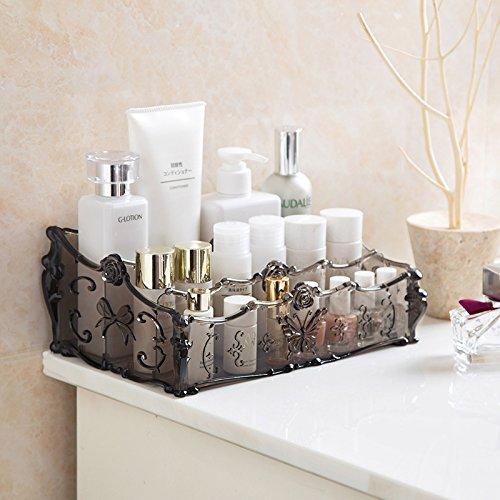 YINGBO Große Kapazität, Transparentes Acryl-Make-up-Organizer, Vintage-Badezimmer-Kosmetik-Aufbewahrungsbox für Make-up, Vitrine (Grau)