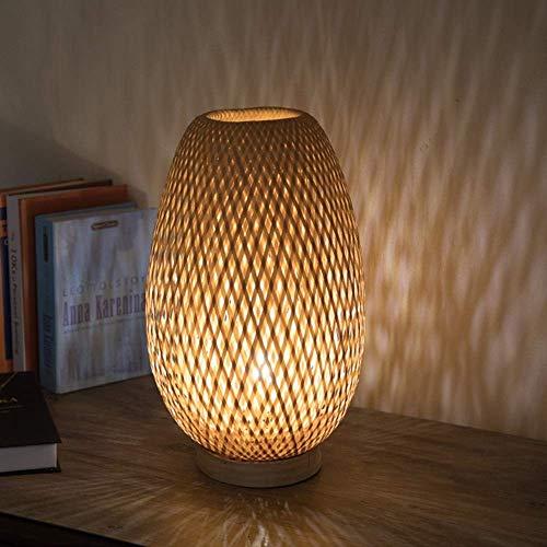 HZC Lampe de Table en Bambou Rustique Luminaires rétro Chevet en Osier - rotin - Stores - Tissé - Abat-Jour pour Salon - Salle à Manger - Café (Size : L)