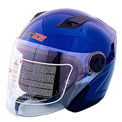 HECHEN Männlicher Motorradhelm für Männer und Frauen - halbüberdachter Sonnenschutz mit UV-Schutz von Vier Jahreszeiten,Blue