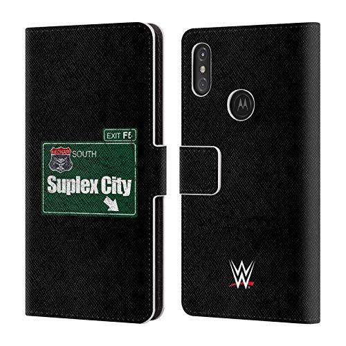 fizielle WWE Suplex City Zeichen Brock Lesnar Brieftasche Handyhülle aus Leder für Motorola One Power (P30 Note) ()