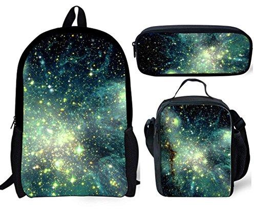 POLERO 3D Galaxy-Schule-Rucksack für Jungen-Mädchen-Mode Durable-Buch-Tasche Teens Rucksack mit Lunch Box und Federmäppchen 3 PCS -