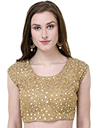 Naira Couture™ Mirror Work Golden Latest Designer Partywear Dupian Silk Readymade Padded Saree Blouse For Women