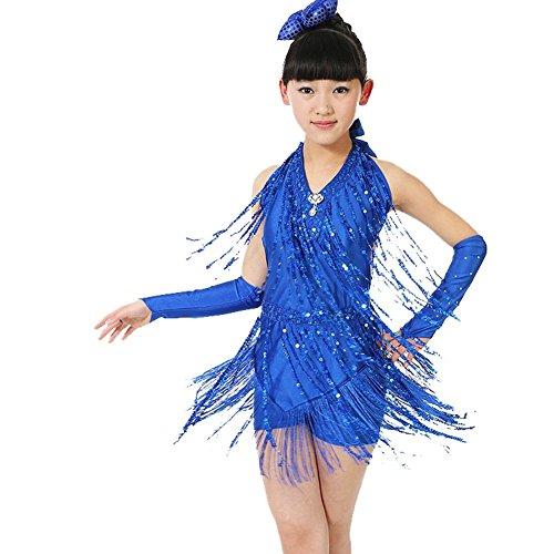 Wgwioo Mädchen Tassel Pailletten Latin Tanz Kostüme Teen Girls Wear Kinder Bühne Aufführungen Kleider Studenten Praxis Kleidung, Blue, ()