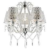 Klassischer Glas Kristall Kronleuchter mit Lampenschrirmen Deckenleuchte Deckenlampe für Wohnzimmer Ø50cm 5 Arm