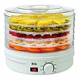 ECG SO 375 250 W zum Trocknen von Obst, Gemüse, Kräutern, Fleisch und sonstigen Lebensmitteln, samt fünf Fächer 32 cm, laufende Temperaturkontrolle 35-70 Grad Celcius, Überhitzungsschutz -