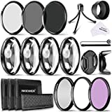 Neewer 52MM Kit de Filtro de Lente de Cámara Incluye 52MM Cerca de macro Filtros(+1 +2 +4 +10).ND Filtros(ND2 ND4 ND8) y UV CPL FLD Filtros.Capilla de lente y otros accesorios para lentes con filtro tamaño de 52 mm