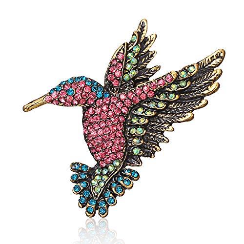 Gold-Ton-Emaille-Vogel Hummingbird Multi Farbe Österreichische Kristall Brosche Schmuck rosa Einstellbar ()