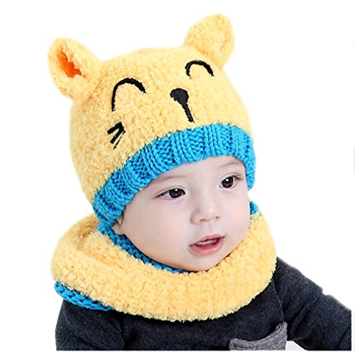 ECHERY Kleinkind Baby Jungen Mädchen Stricken Cartoon Katze Ohrenklappen Beanie Mütze Schals Schädel Kappen Set Gelb (Stricken Cuff Hut Beanie)