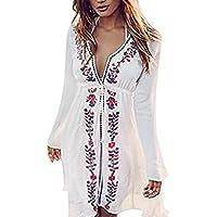 ASSKDAN Femme Bohême Robe de Plage Broderie Floral Col V Coton Manche Longue Mini Robe