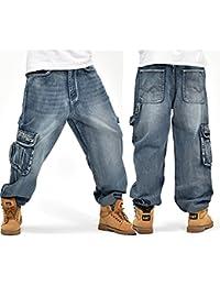 3bb1f935c0bad Alamor Loose Plus Tamaño 30-46 Hip-Hop Hombres Moda Jeans De Gran Tamaño