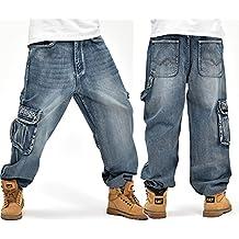 8254febfc1c41 Alamor Loose Plus Tamaño 30-46 Hip-Hop Hombres Moda Jeans De Gran Tamaño