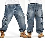 Alamor Allentato Plus Size 30-46 Hip-Hop Uomini Di Moda Grandi Dimensioni Jeans Pop Skateboard Pantaloni-36