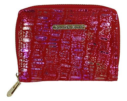 Kleine handliche Leder Damen Geldbörse Roter Geldbeutel aus Wildleder Portemonnaie Portmonee für Frauen Echtleder rot (5248-4) -