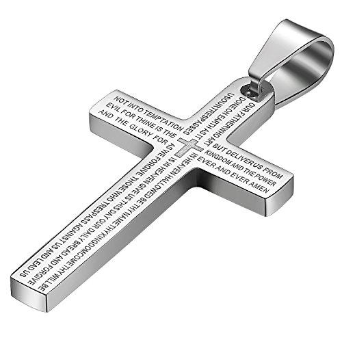 JewelryWe Schmuck Edelstahl Bibel Gebet Kreuz Anhänger mit 55cm Kette, Halskette für Herren Damen, Silber