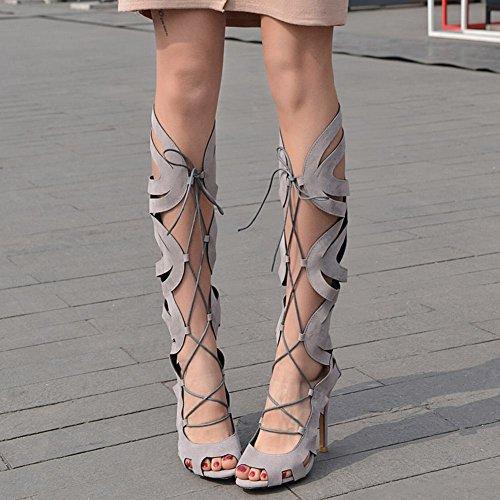 MissSaSa Donna Sandali col Tacco Alto Estivi Stivali Sexy Grigio