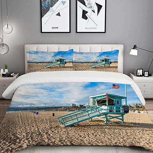 ALLMILL Bettwäsche-Set,Rettungsschwimmer-Hütte auf Santa Monica Beach California,Dekoratives 3-teiliges Bettwäscheset mit 2 Kissenbezügen,King Size(200 x 200cm)