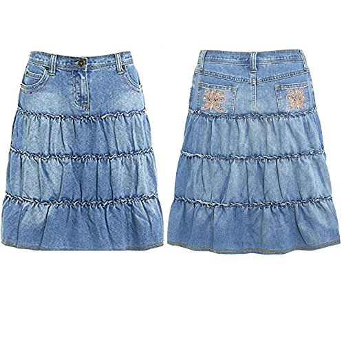 Ladies A Line Denim Skirt Summer Layered Jeans Light for sale  Delivered anywhere in UK