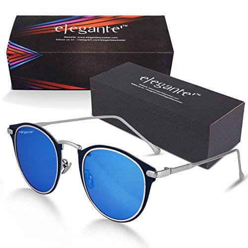 Elegante Metal Nose Bridge Retro & Luxurious Round Blue Mirrored Unisex Sunglasses